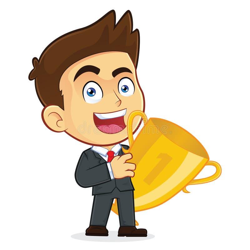 Hombre de negocios Holding a la taza del trofeo ilustración del vector