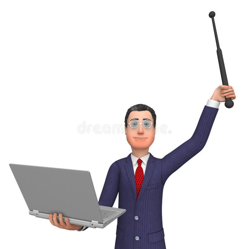 Hombre de negocios Holding Laptop Indicates WWW corporativo y Digital libre illustration
