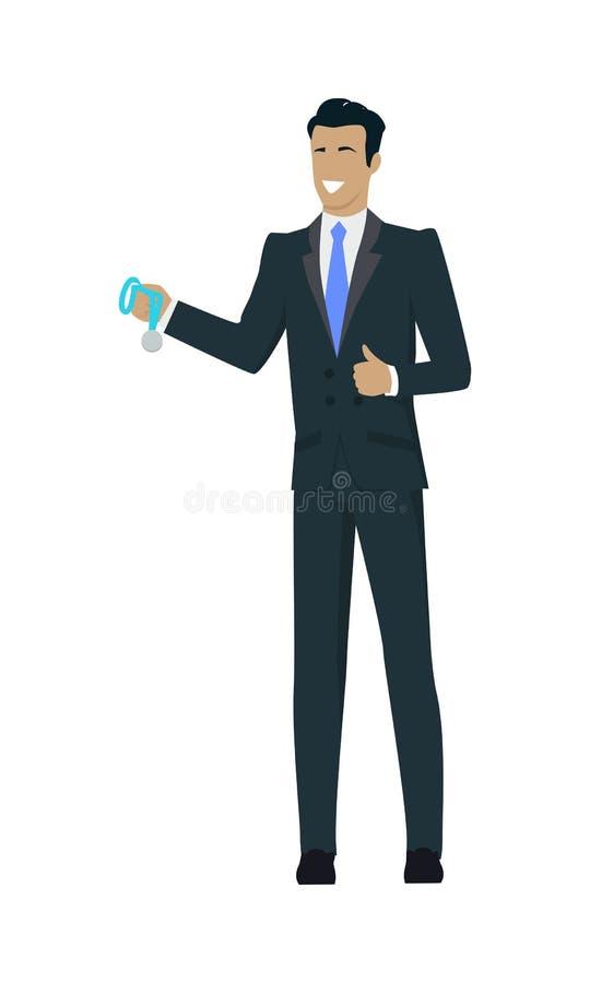 Hombre de negocios Holding Medal del ganador libre illustration