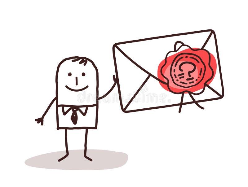 Hombre de negocios Holding un sobre sellado ilustración del vector