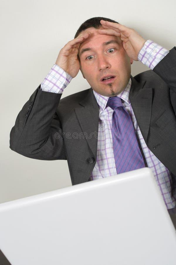 Hombre de negocios horrorizado fotos de archivo