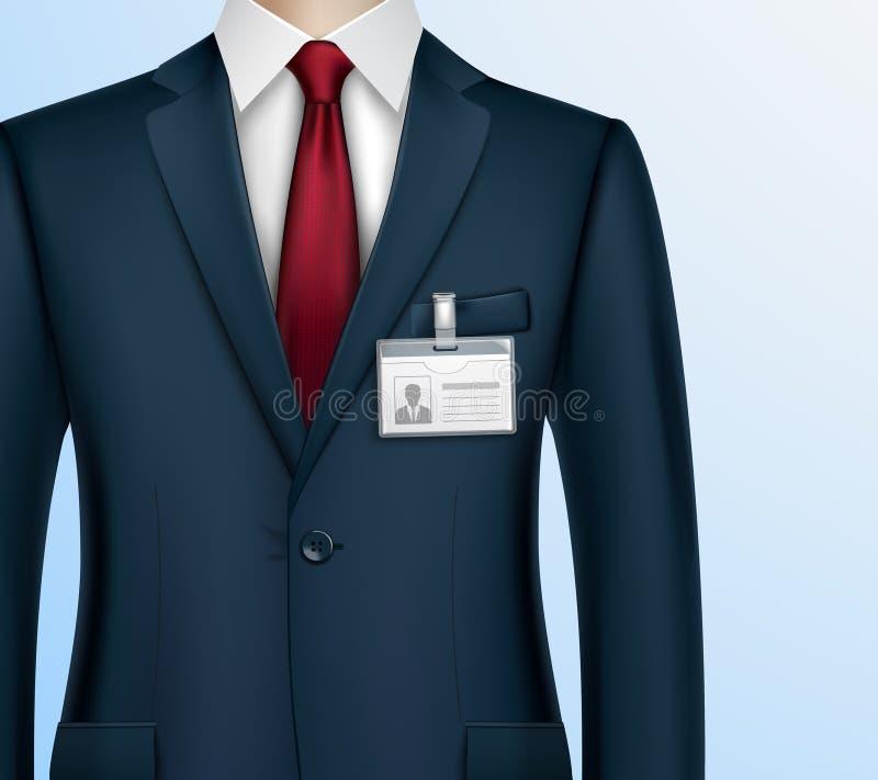 Hombre de negocios ID Badge Holder Realistic stock de ilustración