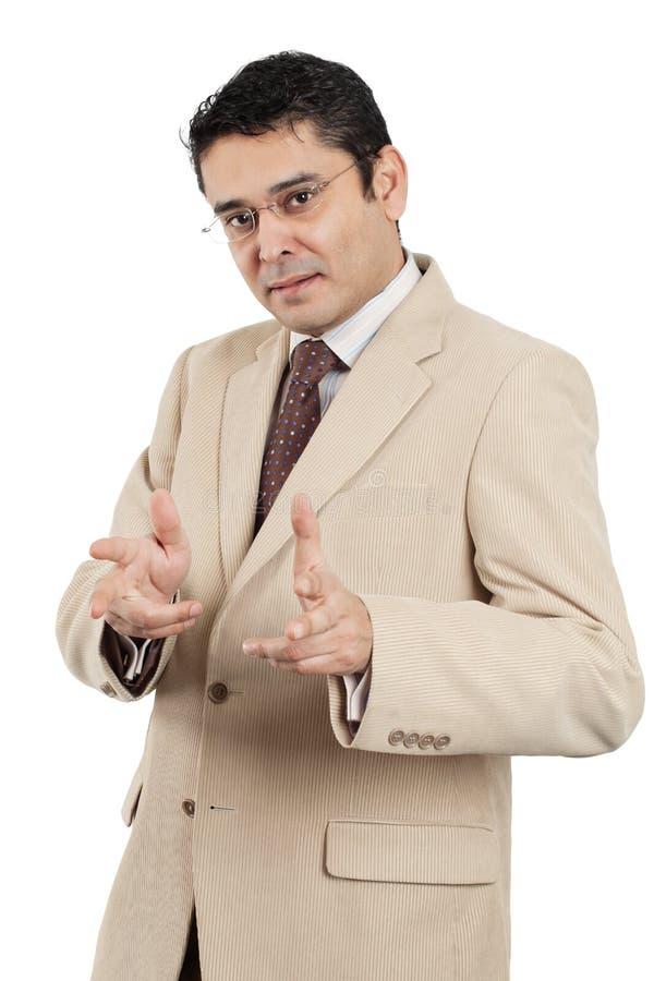 Hombre de negocios indio que hace gesto de mano imágenes de archivo libres de regalías