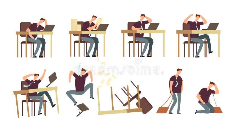 Hombre de negocios infeliz In Office Las personas enojadas, trastornadas y subrayadas, empleados vector los caracteres aislados ilustración del vector