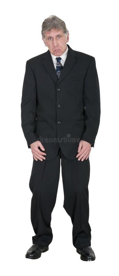 Hombre de negocios infeliz triste aislado en blanco fotografía de archivo libre de regalías