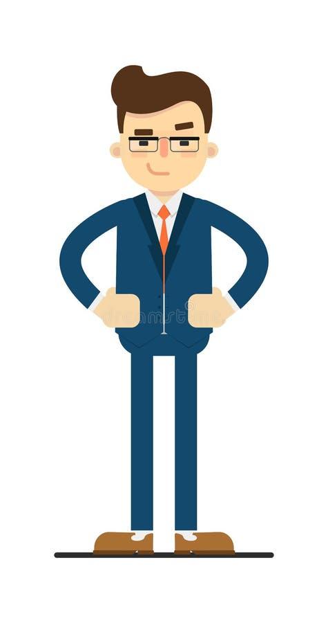 Hombre de negocios interesado con las manos en gesto de la cintura ilustración del vector