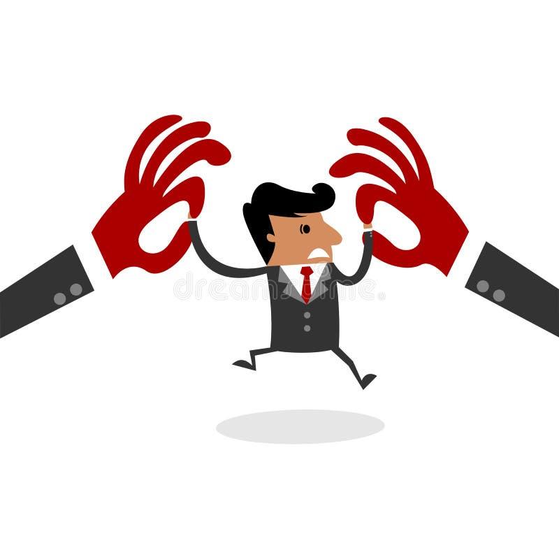 Hombre de negocios internacional que lucha con dos manos enormes stock de ilustración