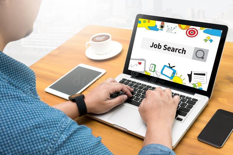 Hombre de negocios Internet Online Job Search imagenes de archivo
