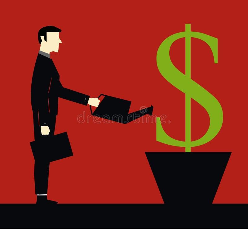 Hombre de negocios Investation Watering ilustración del vector