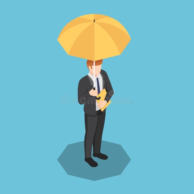 Hombre de negocios isométrico con el fichero del paraguas y de documento en su mano stock de ilustración