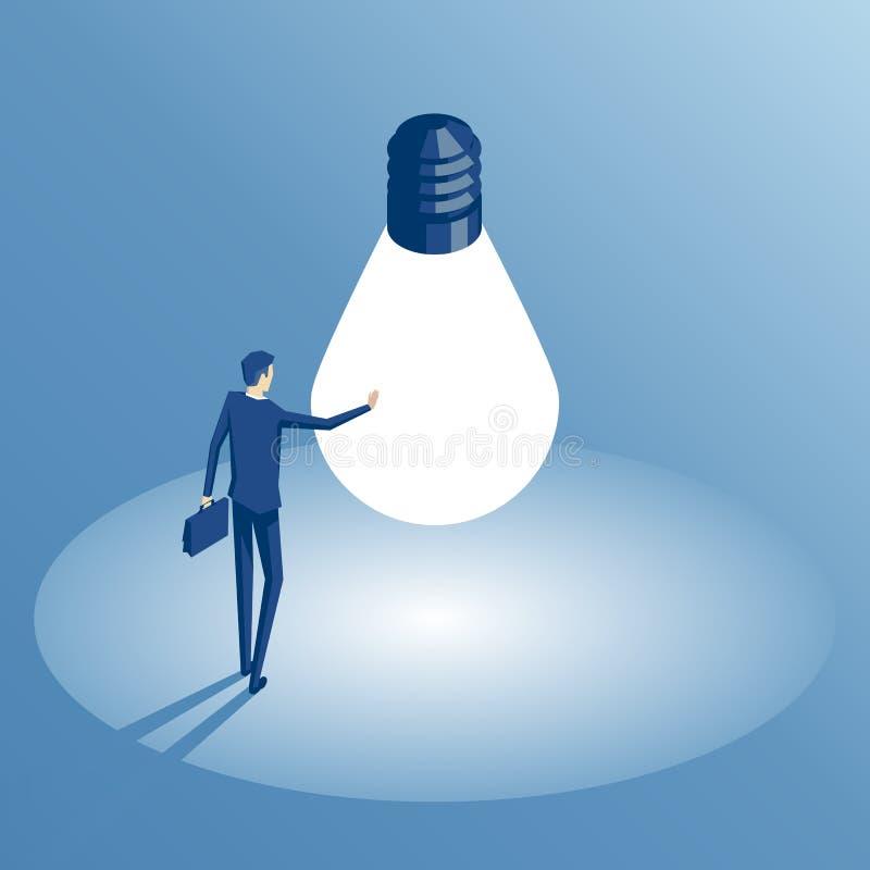 Hombre de negocios isométrico e idea libre illustration