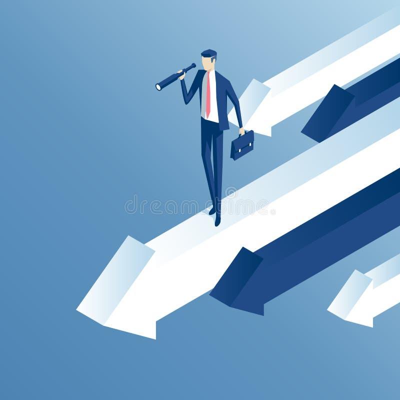 Hombre de negocios isométrico en flecha stock de ilustración