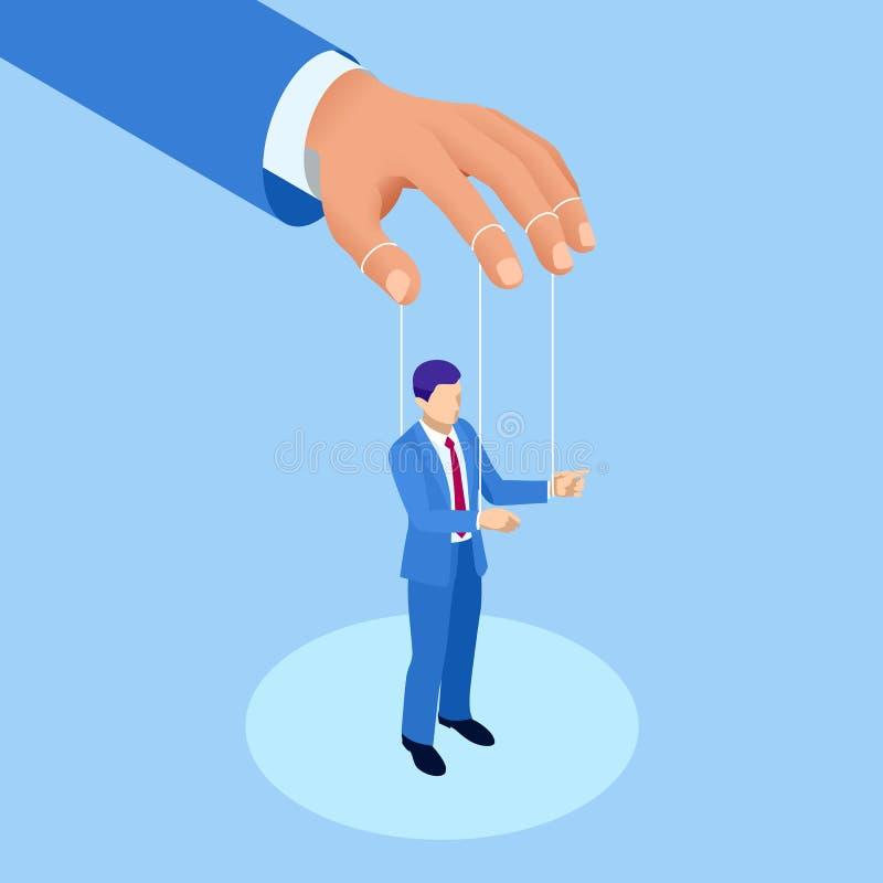 Hombre de negocios isométrico Puppet, trabajadores controlados Concepto Marioneta del trabajador en las cuerdas Boss controlado H libre illustration