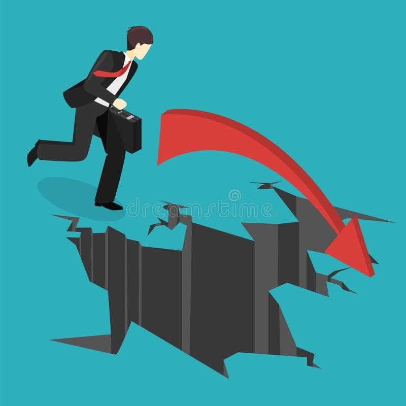 Hombre de negocios isométrico que corre en el abismo El hombre está haciendo frente a dificultades ilustración del vector