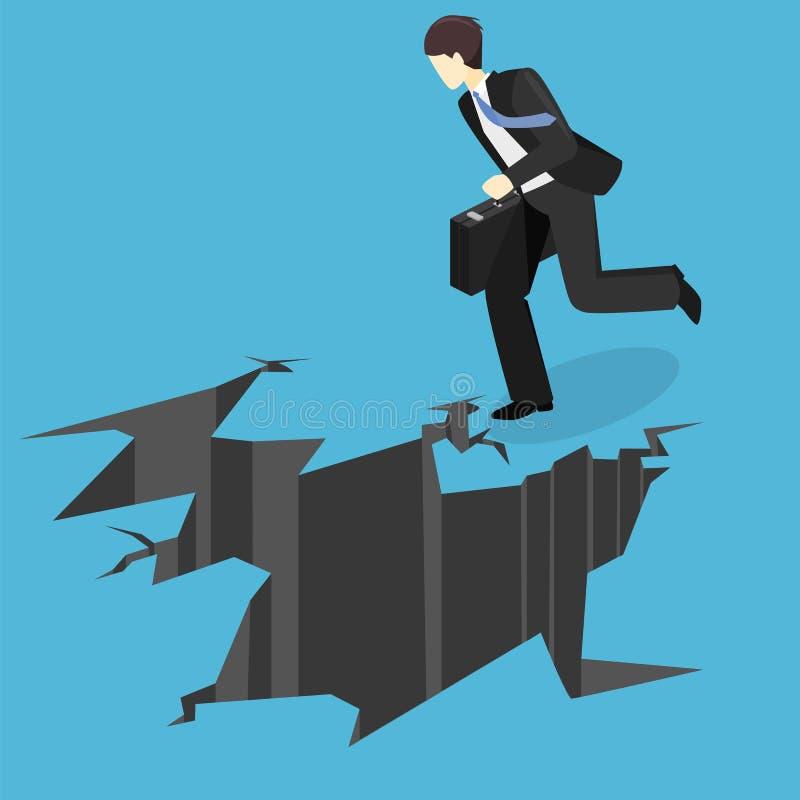 Hombre de negocios isométrico que corre en el abismo El hombre está haciendo frente a dificultades stock de ilustración