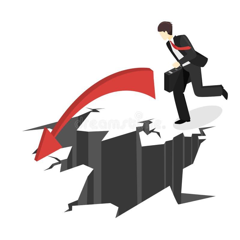 Hombre de negocios isométrico que corre en el abismo El hombre está haciendo frente a dificultades libre illustration