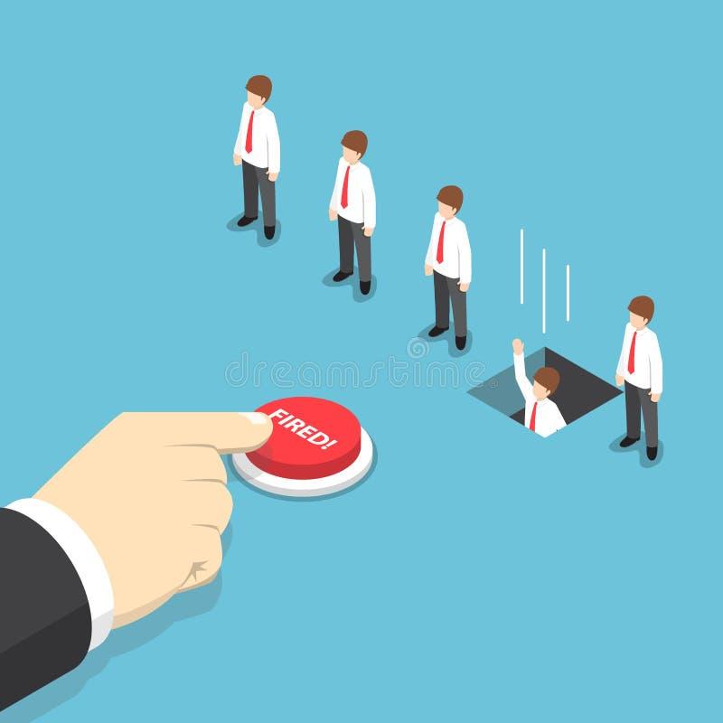 Hombre de negocios isométrico que empuja el botón manualmente encendido al despido su em stock de ilustración
