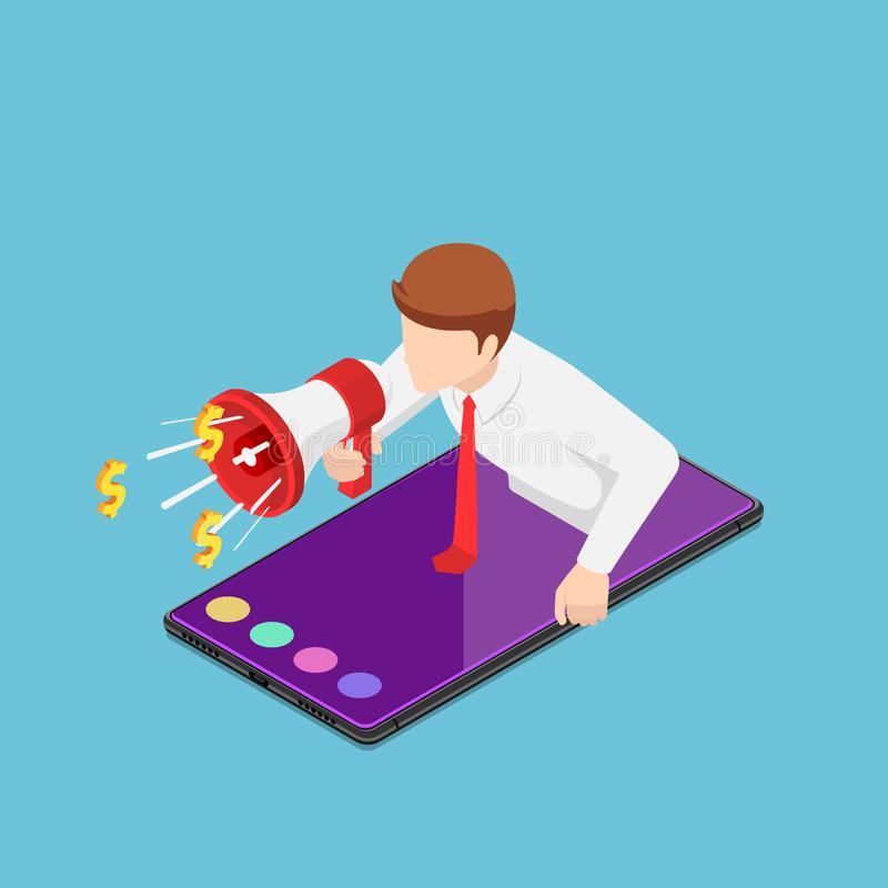 Hombre de negocios isométrico que grita hacia fuera con el megáfono subido de smartphone stock de ilustración