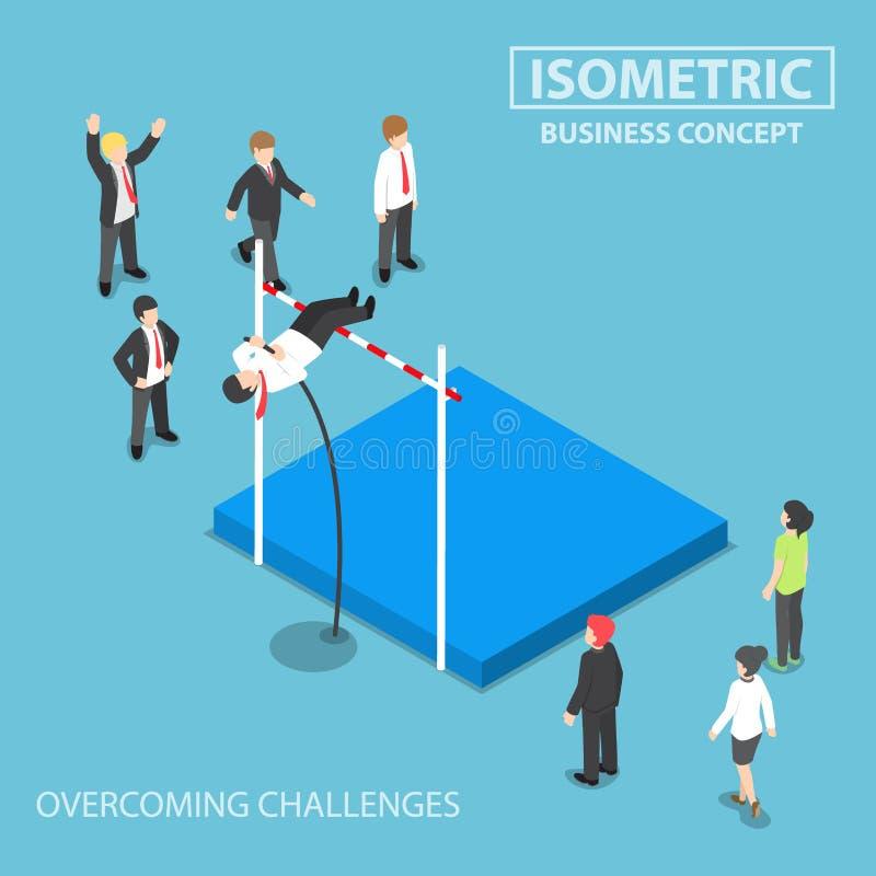 Hombre de negocios isométrico que hace el salto con pértiga stock de ilustración