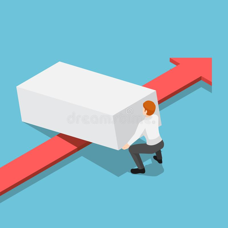 Hombre de negocios isométrico que levanta encima de obstáculo de dejar el paso rojo de la flecha stock de ilustración