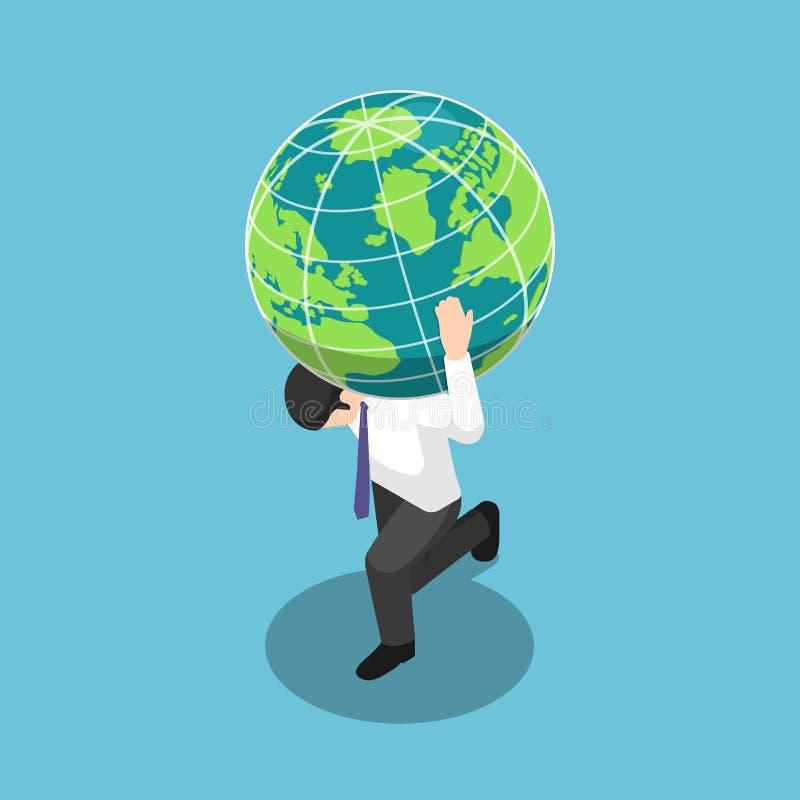 Hombre de negocios isométrico que lleva el globo del mundo o de la tierra en su hombro stock de ilustración