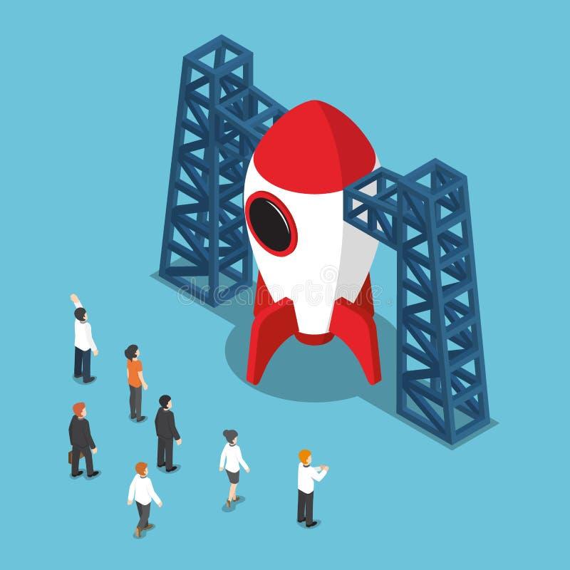 Hombre de negocios isométrico que mira el transbordador espacial ilustración del vector