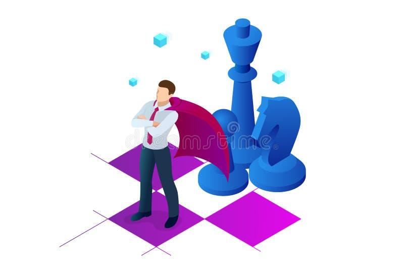 Hombre de negocios isométrico que se coloca en tablero de ajedrez Estrategia, gestión, concepto de la dirección Estrategia empres stock de ilustración