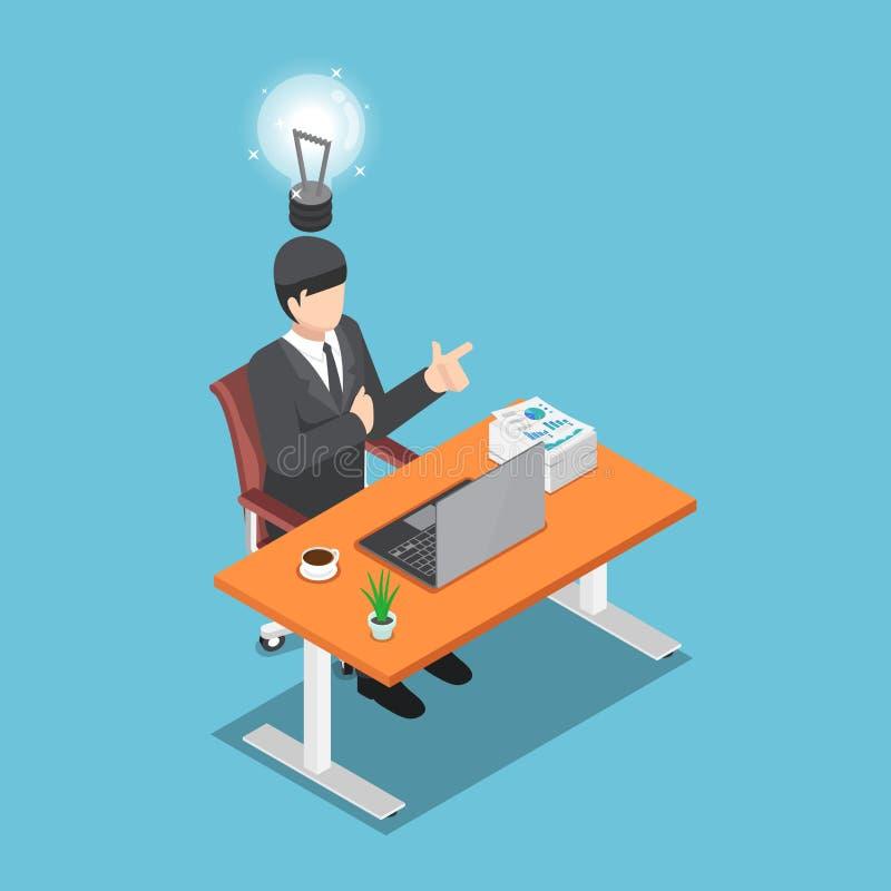 Hombre de negocios isométrico que se sienta en su escritorio y nueva idea conseguida libre illustration