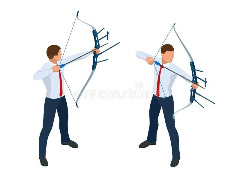 Hombre de negocios isométrico que tira un arco y una flecha ?xito La flecha golpe? el centro de la blanco Logro de la blanco del  stock de ilustración