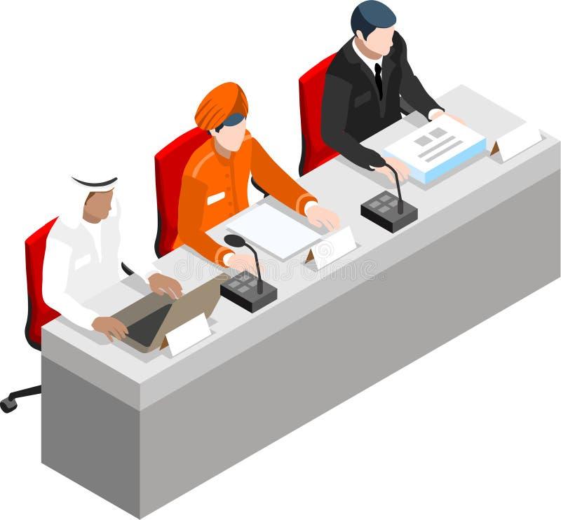 Hombre de negocios isométrico Sale Lead Bank stock de ilustración