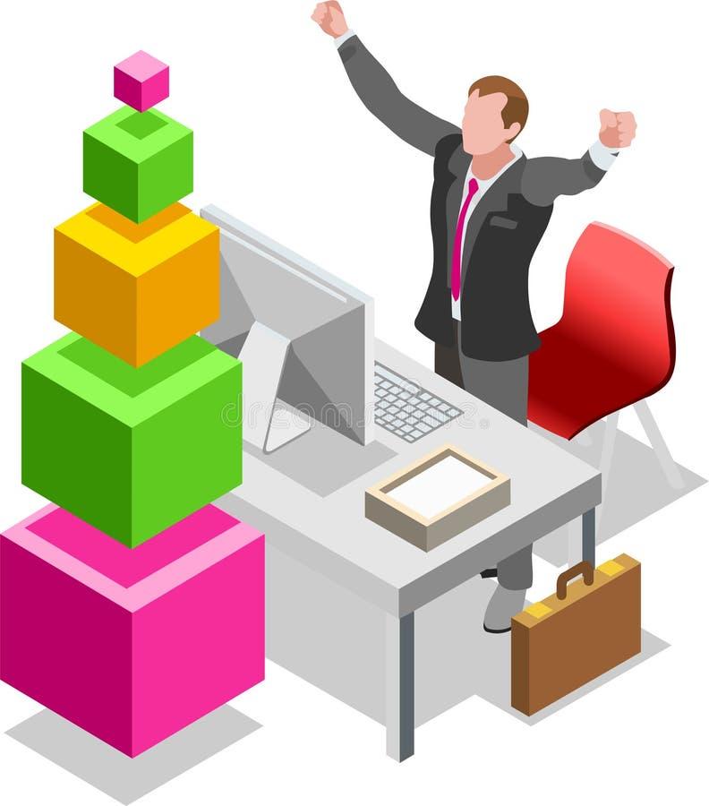 Hombre de negocios isométrico Sale Lead Bank ilustración del vector
