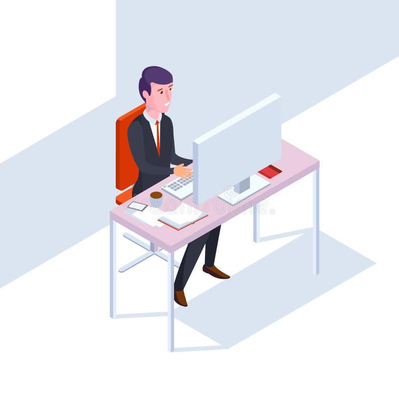 Hombre de negocios isométrico de SEO en el trabajo Ejemplo plano del vector de la oficina del estilo ilustración del vector