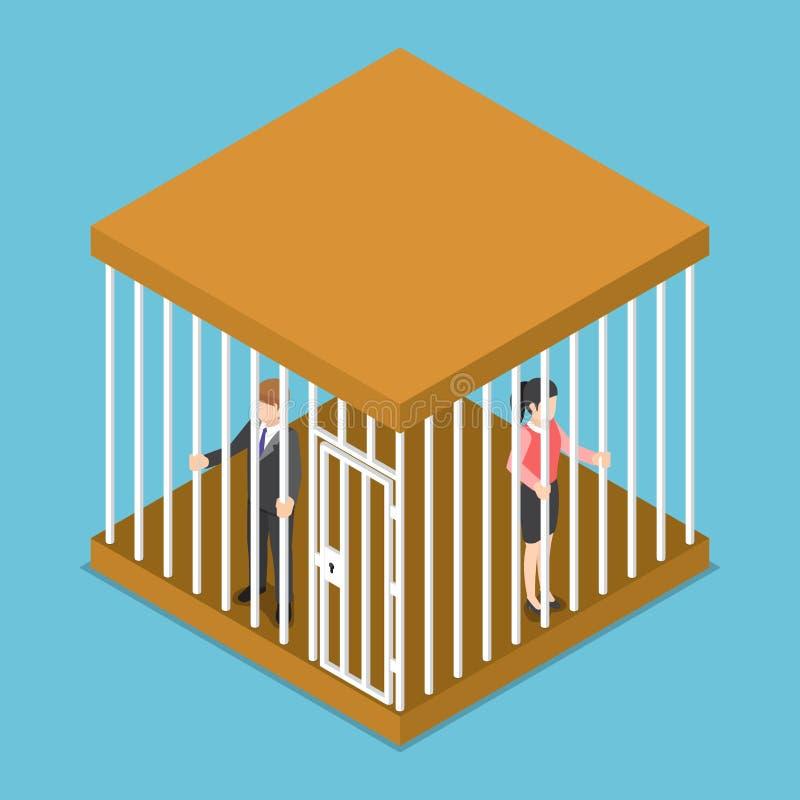 Hombre de negocios isométrico y empresaria atrapados en la jaula ilustración del vector
