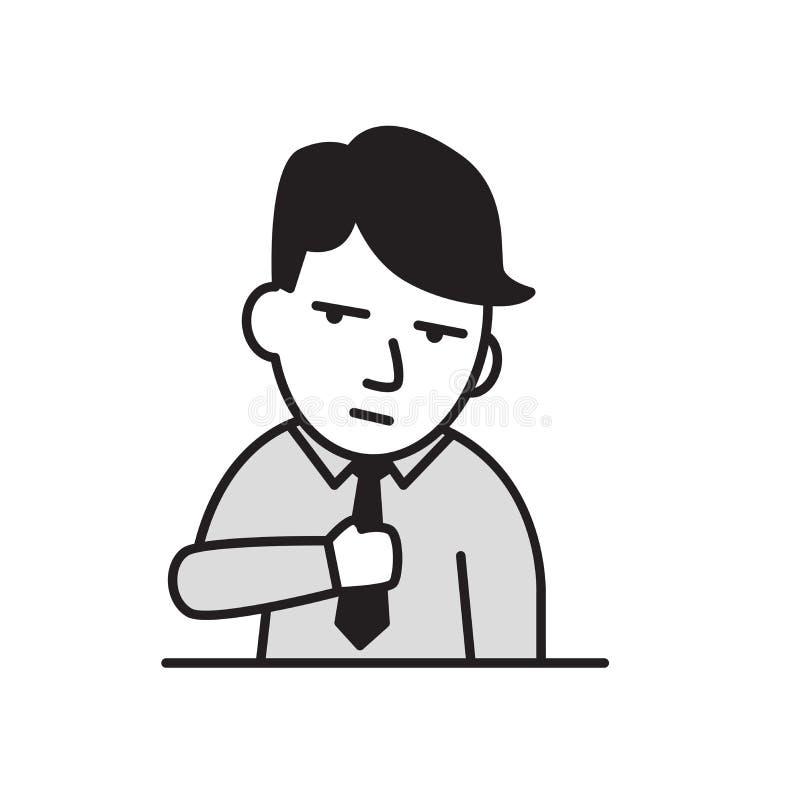 Hombre de negocios joven agotado Icono plano del diseño Ejemplo plano del vector Aislado en el fondo blanco libre illustration