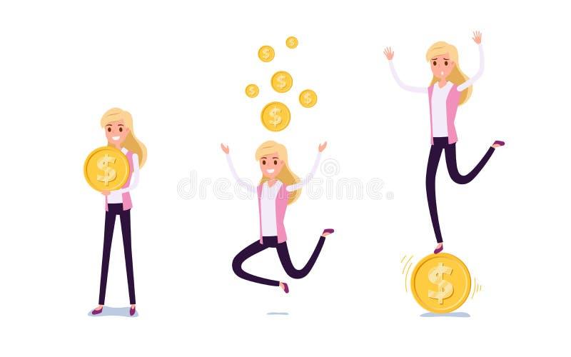 Hombre de negocios joven Character Design Sistema de la mujer de negocios que actúa en traje con el dinero, diversas emociones, a ilustración del vector