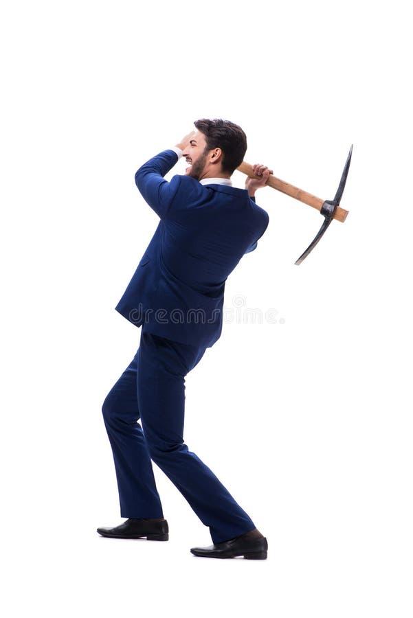 Hombre de negocios joven con el hacha aislada en el fondo blanco imagenes de archivo