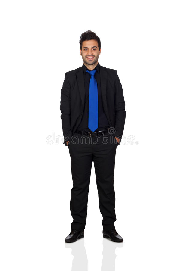 Hombre de negocios joven con el lazo azul fotografía de archivo