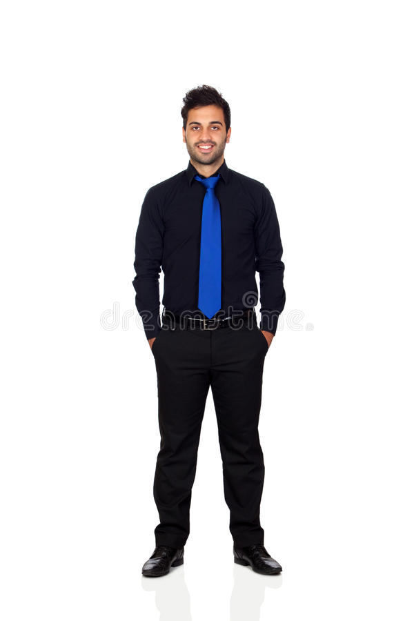 Hombre de negocios joven con el lazo azul foto de archivo libre de regalías