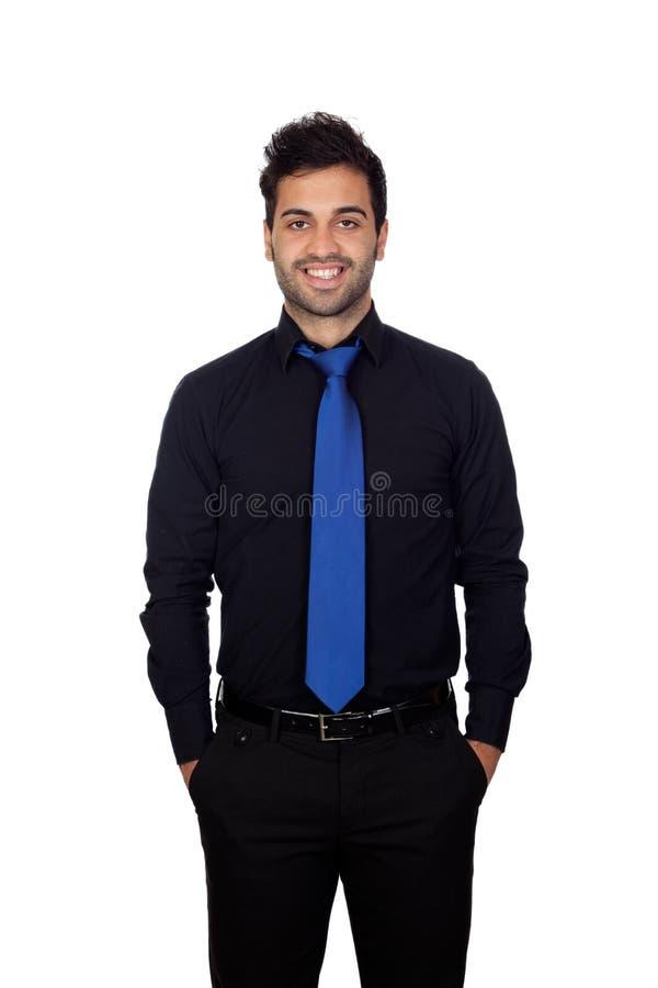 Hombre de negocios joven con el lazo azul fotografía de archivo libre de regalías