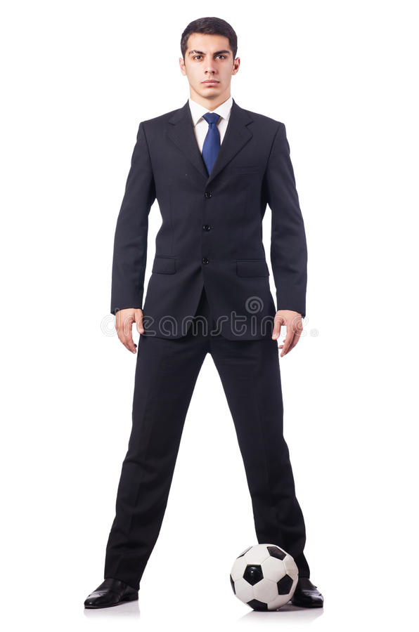 Hombre de negocios joven con fútbol
