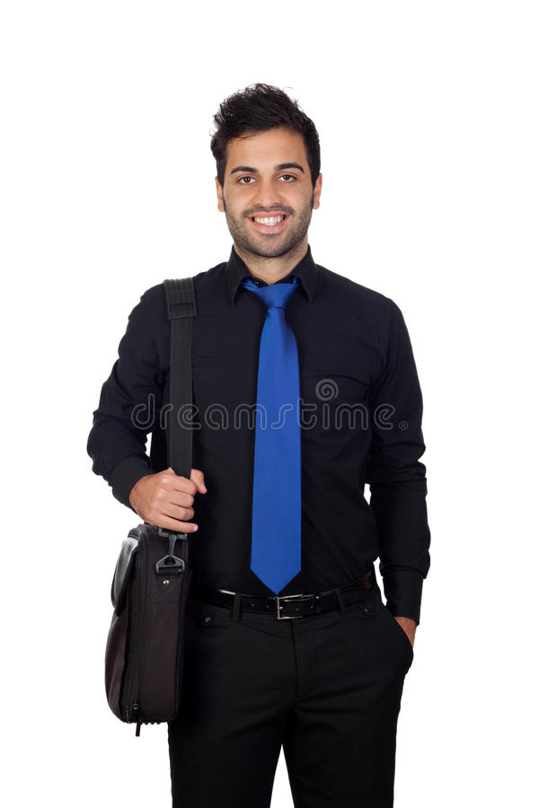 Hombre de negocios joven con una cartera para el ordenador portátil foto de archivo