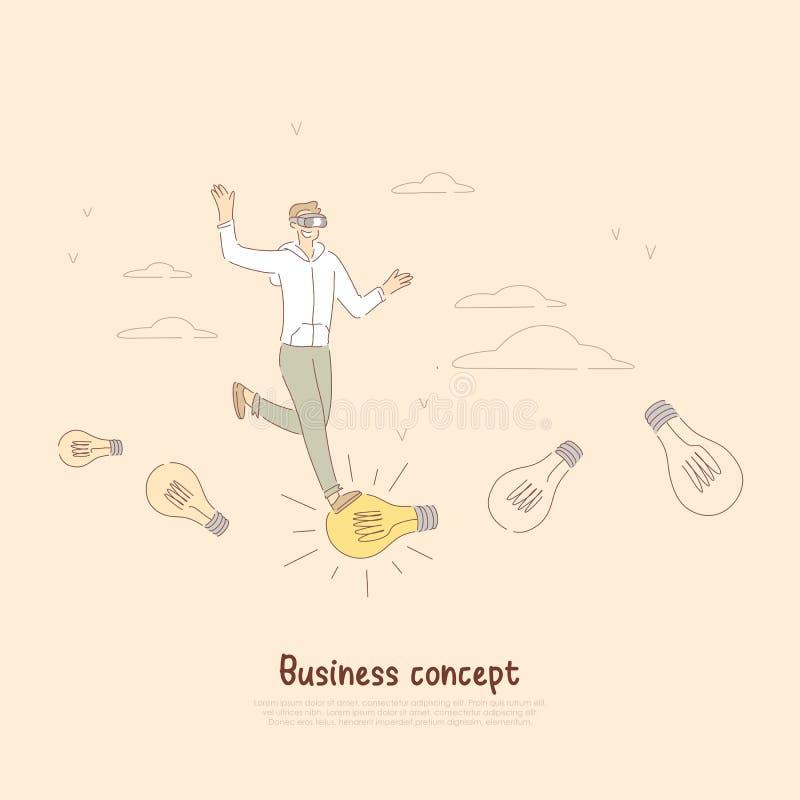 Hombre de negocios joven, empresario alegre en las auriculares del vr, metáfora del espíritu emprendedor, bandera de la innovació ilustración del vector