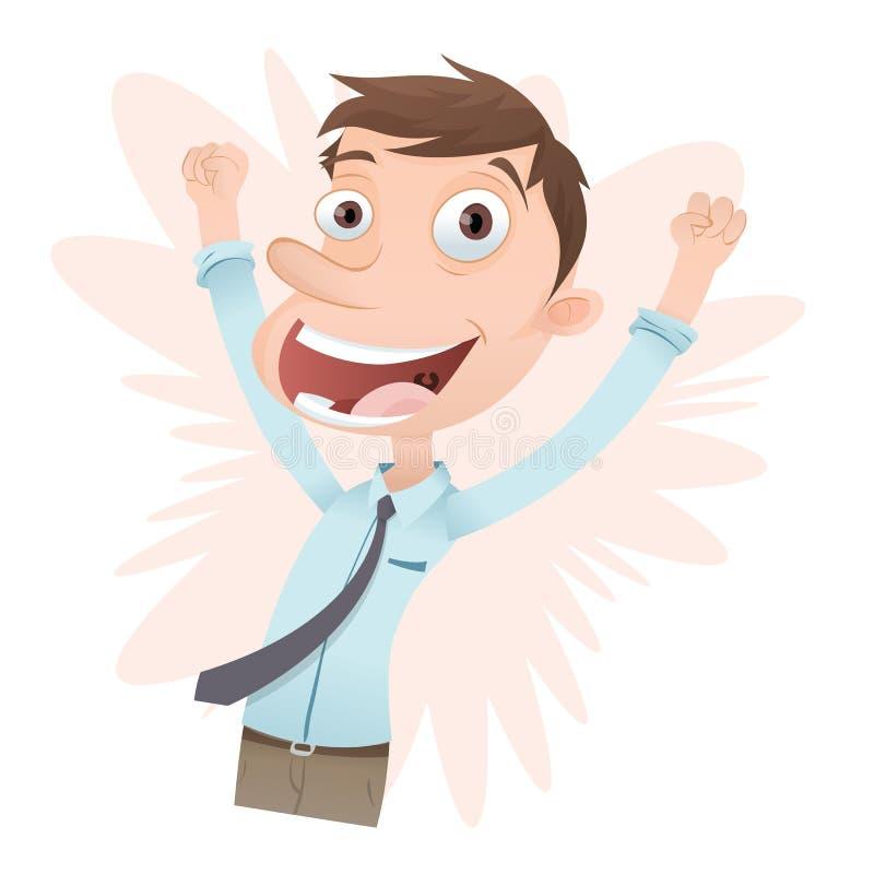 Hombre de negocios joven feliz stock de ilustración