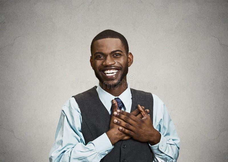 Hombre de negocios joven feliz, sorprendido fotografía de archivo libre de regalías