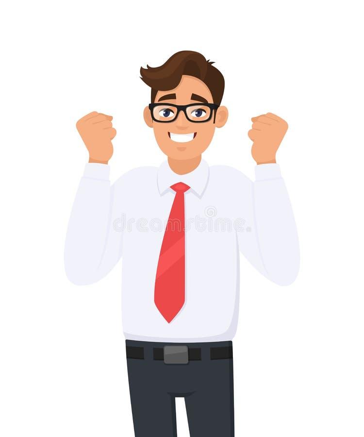 Hombre de negocios joven feliz y emocionado que celebra la victoria que expresa éxito, poder, energía y emociones positivas ilustración del vector
