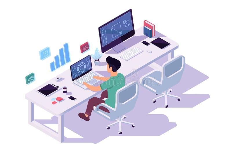 Hombre de negocios joven isométrico 3d con la taza de café en el ordenador en el lugar de trabajo para dos en el trabajo ilustración del vector