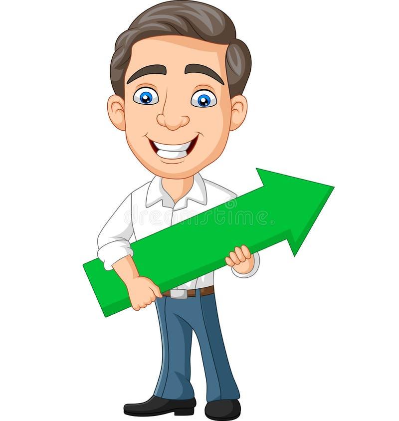 Hombre de negocios joven de la historieta que sostiene una flecha verde ilustración del vector