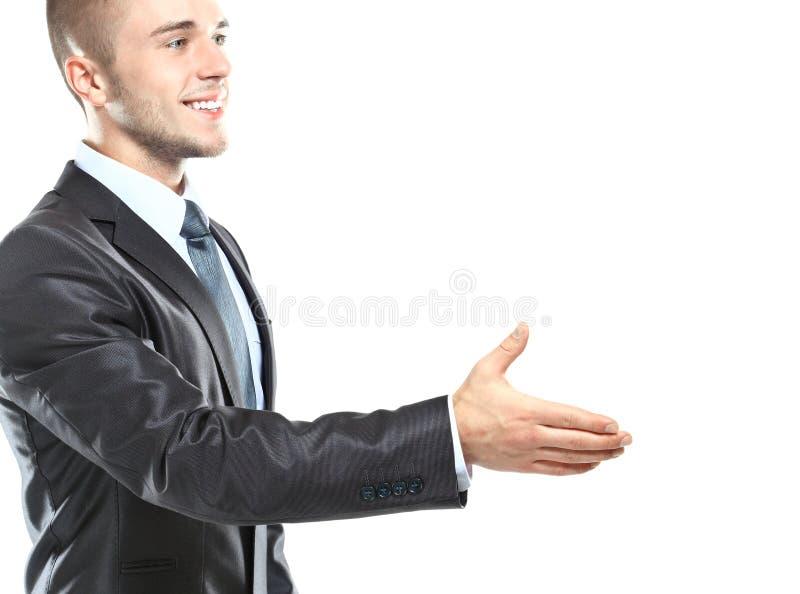 Hombre de negocios joven listo para fijar un trato fotos de archivo
