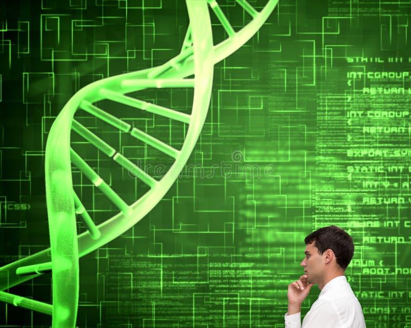 Hombre de negocios joven pensativo que mira espiral de la DNA imágenes de archivo libres de regalías
