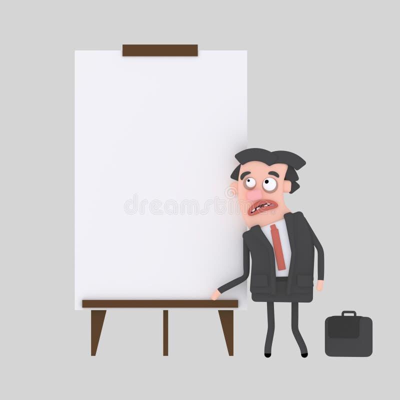 Hombre de negocios joven que da una presentación en el tablero blanco ilustración del vector